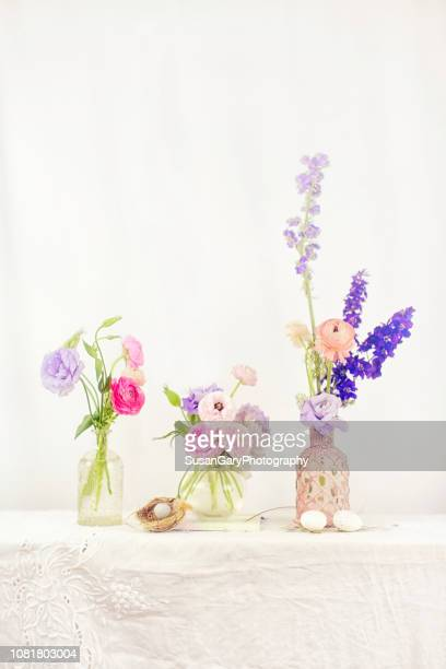 Pastel Ranunculus and Lisianthus With Larkspur Still Life