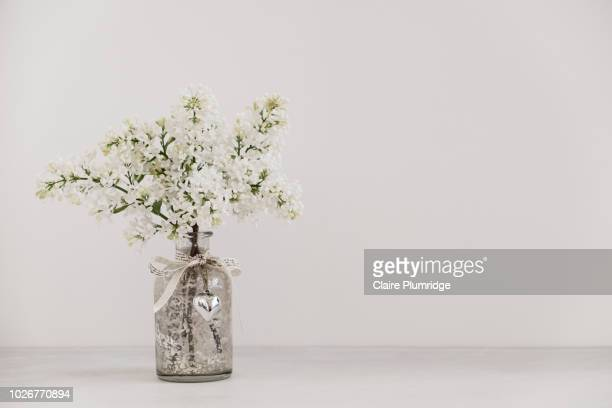 pastel - Styled stock image of a bunch of white lilac sprigs in a glass vase on a grey watercolour effect background.