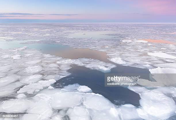 pastel sunset view of okhotsk ice sea - sea of okhotsk stock pictures, royalty-free photos & images