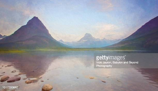 Pastel Version of Reflection on Swiftcurrent Lake at Many Glacier