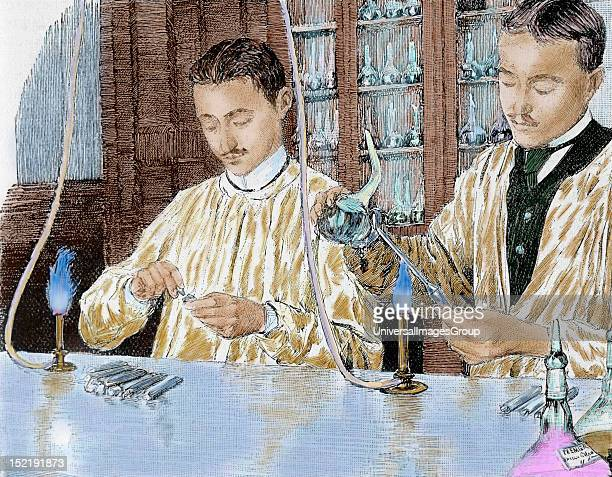 Pasteur Louis French chemist and bacteriologist Experiment with the anthrax vaccine Pasteur Institute Paris Colored engraving