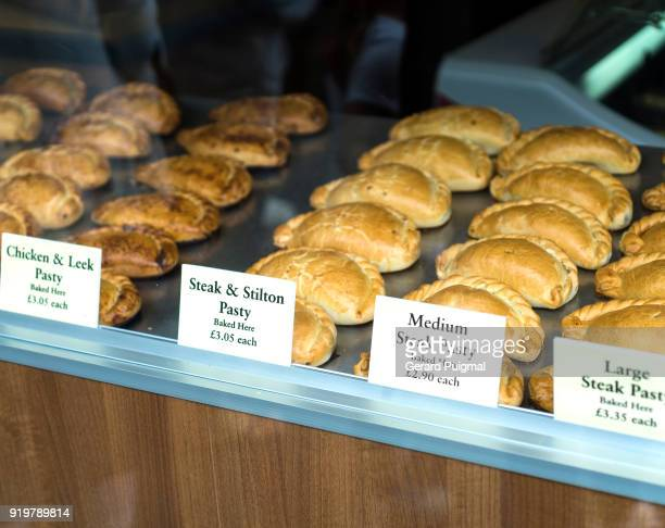 pasties displayed in a shop - cornish pasty stock pictures, royalty-free photos & images