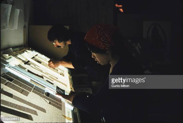 Pasting up the school paper at the Evergreen State College late at night It was always late at night when we did this This is probably the winter of...
