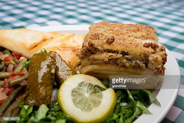 pastitsio greek lasagna - dolmades stock pictures, royalty-free photos & images