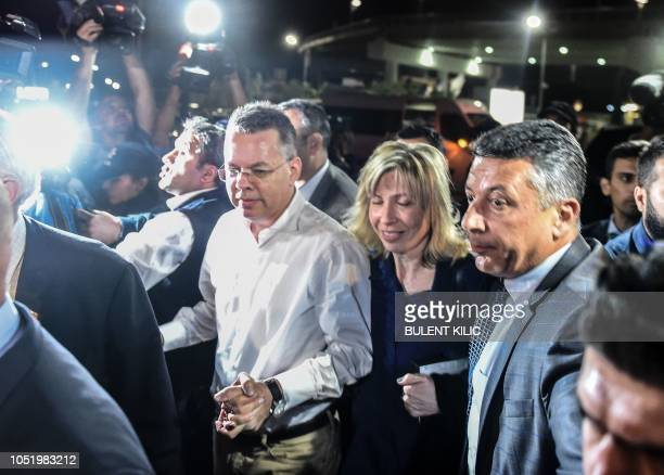 US pastor Andrew Craig Brunson arrives at Adnan Menderes airport in Izmir on October 12 2018 after being freed following a trial in a court in Aliaga...