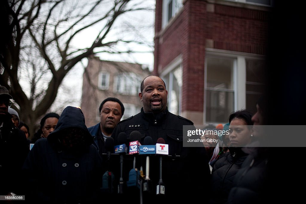 Pastor Cory Brooks speaks to members of the community during a vigil for slain infant Jonylah Watkins on March 12, 2013 in Chicago, Illinois. The 6-month-old girl was shot five times on the 6500 block of South Maryland Avenue while her father was changing her diaper in the passenger seat of his car. The father, Jonathan Watkins remains is stable condition at Nothwestern Memorial Hospital after receiving three gunshot wounds.
