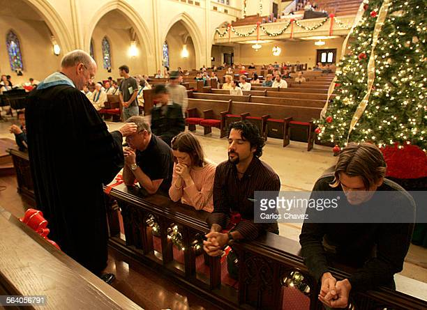 Pastor Ed Hansen blesses parishioners during mass Sunday at Sanctuary of Hollywood United Methodist Church in Hollywood The Church as recently...