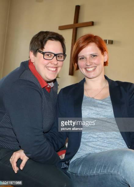 Pastor Ellen Radtke and her wife Stefanie Radtke pose in Golzow Germany 01 April 2016 Both of them have been advocating proper wedding ceremonies...