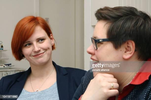 Pastor Ellen Radtke and her wife Stefanie Radtke talk in Golzow Germany 01 April 2016 Both of them have been advocating proper wedding ceremonies...