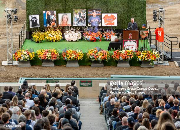 Pastor Erik Rees a friend of the Altobelli family makes opening remarks at the memorial service for Orange Coast College baseball head coach John...