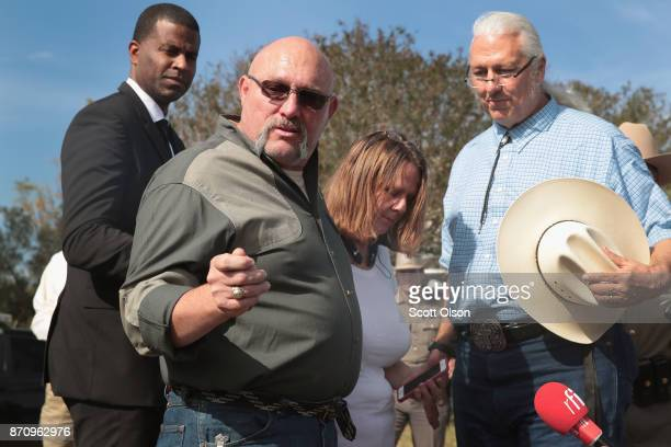 Pastor Frank Pomeroy and his wife Sherri speak to the media near their First Baptist Church of Sutherland Springs on November 6 2017 in Sutherland...