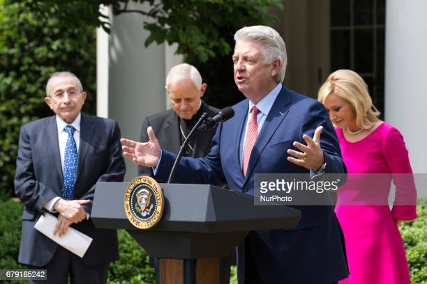 Pastor Jack Graham prayed with Rabbi Marvin Hier Cardinal Donald Wuerl and Pastor Paula White by his side at the National Day of Prayer ceremony in...