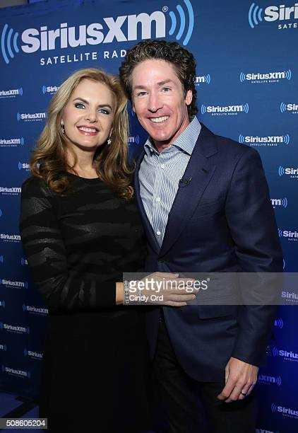 Pastor Joel Osteen and wife/copastor Victoria Osteen visit the SiriusXM set at Super Bowl 50 Radio Row at the Moscone Center on February 5 2016 in...