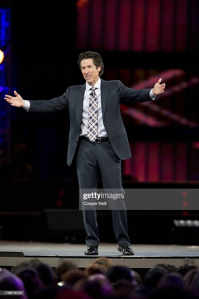 Pastor Joel Osteen speaks during MegaFest at the American Airlines Center on August 30, 2013 in Dallas, Texas.