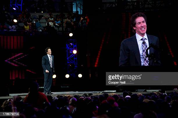 Pastor Joel Osteen speaks during MegaFest at the American Airlines Center on August 30 2013 in Dallas Texas