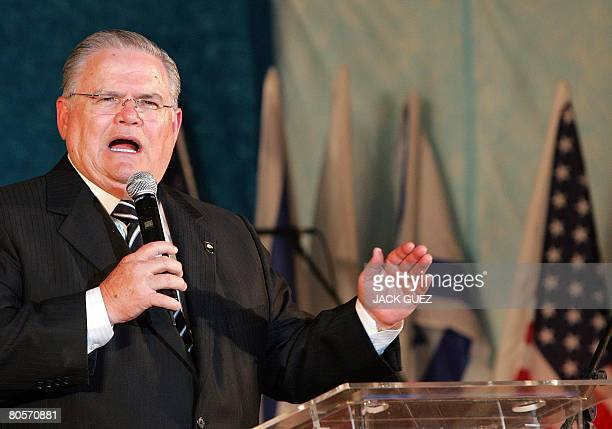 US pastor John Hagee speaks during a visit with Evangelical Christians to Ariel Israeli settlement in the occupied Palestinian territory on April 3...