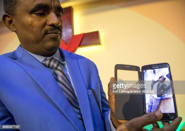 Pastor Kalab Atlabachew in gospel church showing a video of exorcism Addis Ababa region Addis Ababa Ethiopia on March 12 2017 in Addis Ababa Ethiopia