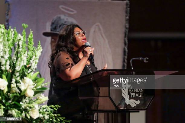 Pastor Kim Burrell sings God Will Take Care of You during the funeral for George Floyd on June 9 2020 in Houston Texas Floyd died after being...
