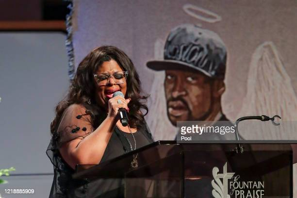 Pastor Kim Burrell sings God Will Take Care of You during the private funeral for George Floyd at The Fountain of Praise church on June 9 2020 in...
