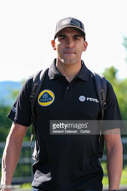 Pastor Maldonado driving for the Lotus F1 Team in the paddock during the 2015 Formula 1 Shell Belgian Grand Prix at Circuit de Spa-Francorchamps in...