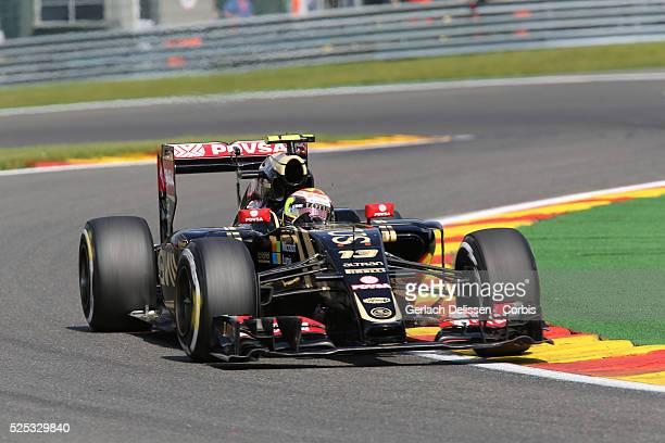 Pastor Maldonado of the Lotus F1 Team during the 2015 Formula 1 Shell Belgian Grand Prix free practice 2 at Circuit de Spa-Francorchamps in Belgium,...