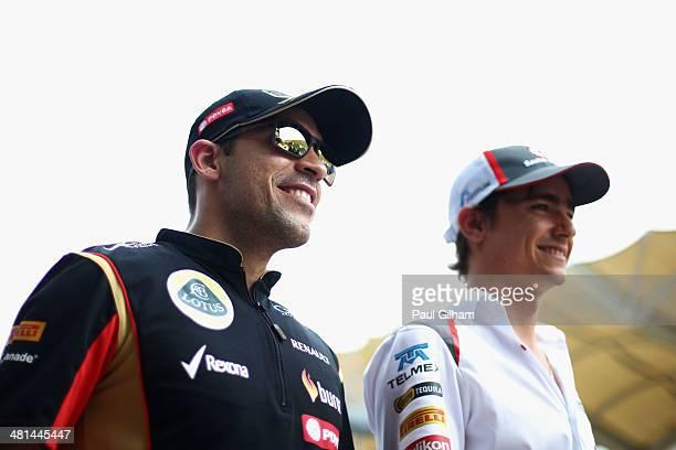 Pastor Maldonado of Venezuela and Lotus and Esteban Gutierrez of Mexico and Sauber F1 attend the drivers parade before the Malaysia Formula One Grand...
