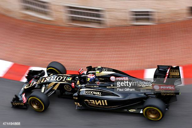 Pastor Maldonado of Venezuela and Lotus drives during final practice for the Monaco Formula One Grand Prix at Circuit de Monaco on May 23 2015 in...
