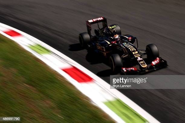 Pastor Maldonado of Venezuela and Lotus drives during final practice for the Formula One Grand Prix of Italy at Autodromo di Monza on September 5...