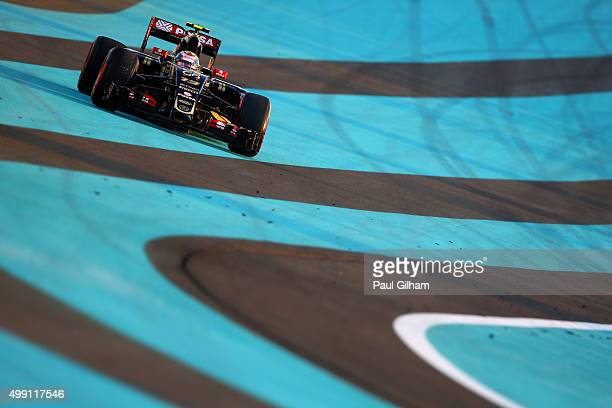 Pastor Maldonado of Venezuela and Lotus runs wide during the Abu Dhabi Formula One Grand Prix at Yas Marina Circuit on November 29 2015 in Abu Dhabi...