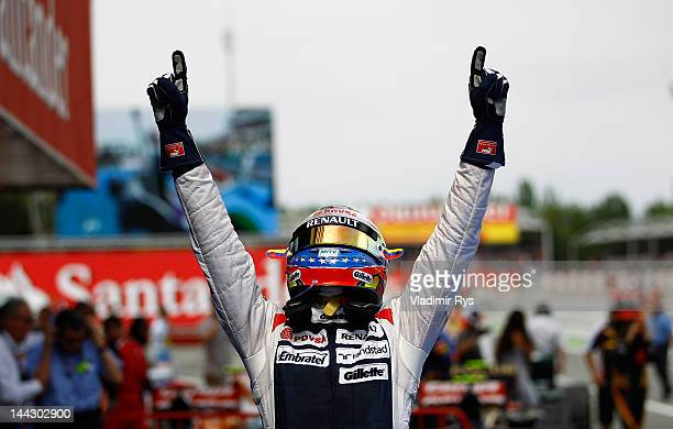 Pastor Maldonado of Venezuela and Williams celebrates after winning the Spanish Formula One Grand Prix at the Circuit de Catalunya on May 13, 2012 in...
