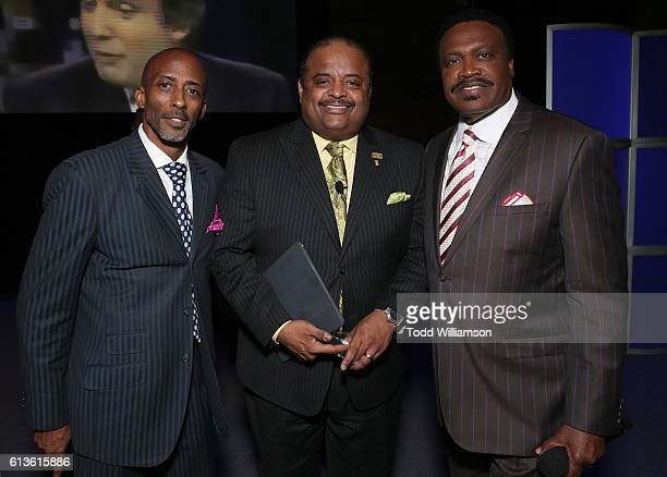 Pastor Marc Little Roland Martin and Bishop Kenneth Ulmer attend the Inform Your Vote President Election Debate at The Tabernacle on October 8 2016...