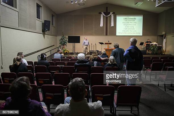 Pastor Michael Demastus of the Fort Des Moines Church of Christ speaks during a Wednesday night service in Des Moines Iowa US on Wednesday Jan 27...