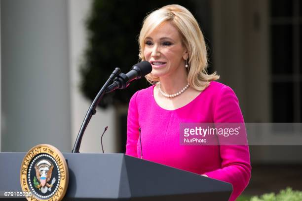 Pastor Paula White spoke at the National Day of Prayer ceremony in the Rose Garden of the White House On Thursday May 4 2017