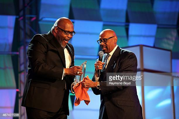 Pastor Preacher Singer Composer and Musician Marvin Winans receives the Lifetime Achievement Award Founder's Edition from Bishop Paul S Morton of...