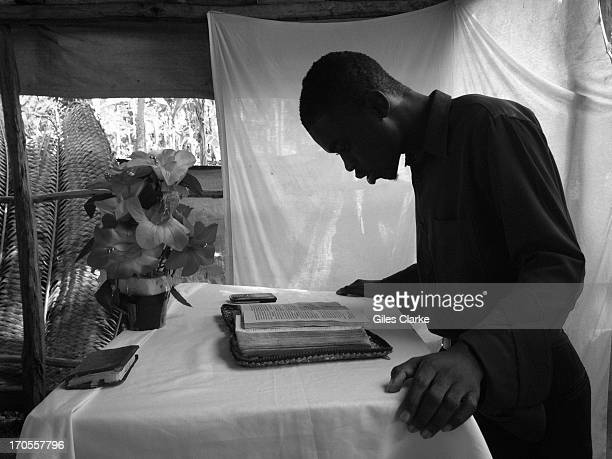 A pastor prepares for a morning service and Sunday school at 'Eglise de Dieu Evangelic' March 24 2013 in Kabic Haiti
