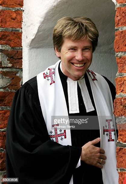 Pastor Rainer Chunnow celebrates the mass of Michael Stich and Alexandra Rikowski at the Sankt Severin church on June 11 2005 at Sylt in Germany