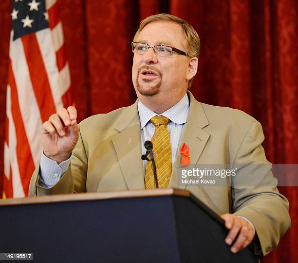 Pastor Rick Warren speaks at The Elton John AIDS Foundation and UNAIDS breakfast at the Russell Senate Office Building on July 24, 2012 in...