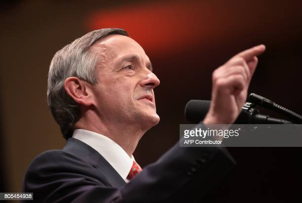 Pastor Robert Jeffress pastor of the First Baptist Church in Dallas introduces US President Donald Trump at the Celebrate Freedom concert at the John...