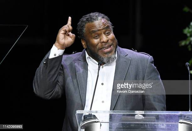 Pastor Shep Crawford speaks during Nipsey Hussle's Celebration of Life at STAPLES Center on April 11 2019 in Los Angeles California Nipsey Hussle was...