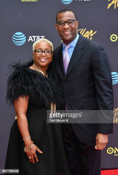 Pastor Tina Williams and AT&T President of National Business Xavier Williams arrive at the 32nd annual Stellar Gospel Music Awards at the Orleans...