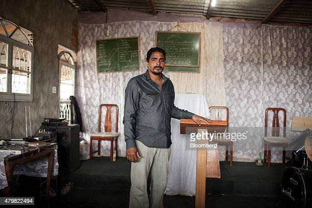 Pastor Vagner Gonzaga stands for a photograph at his church in the Dilma Rousseff favela of Rio de Janeiro Brazil on Monday July 6 2015 As the...