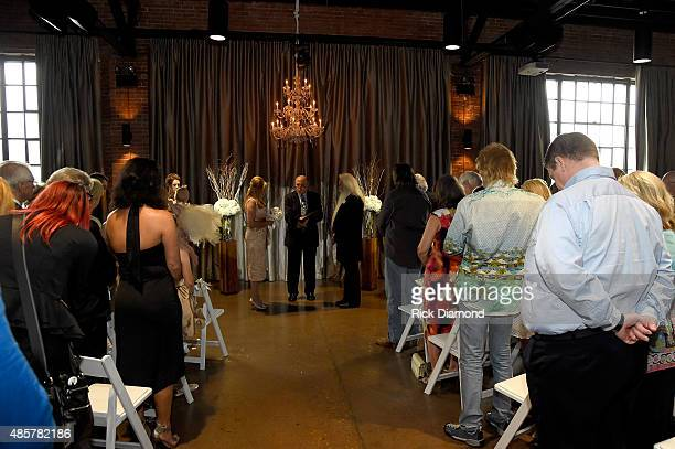 Pastor Wayne Halper marries Oak Ridge Boy William Lee Golden and Simone De Staley on August 29 2015 at The Rosewall in Nashville Tennessee