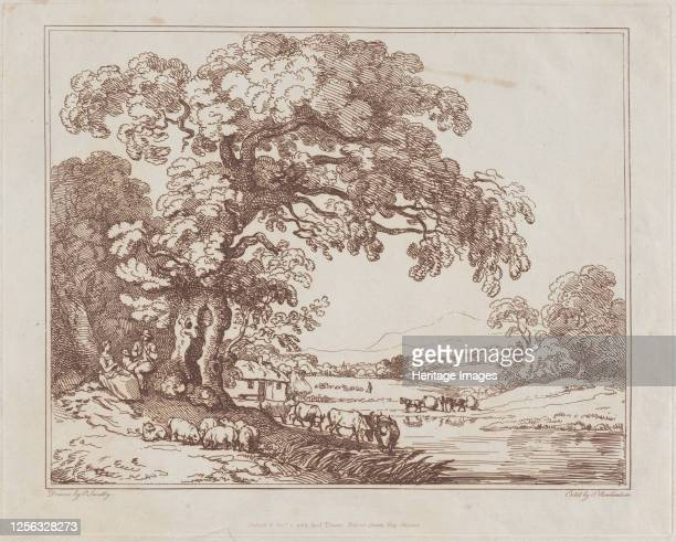 Pastoral Riverside Scene 1789 Artist Thomas Rowlandson