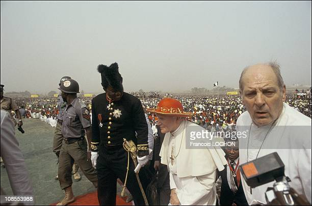 Pastoral Visit in Nigeria Benin Gabon and Equatorial Guinea Pope John Paul II with Archbishop Paul Marcinkus in Nigeria on September 01st 1986