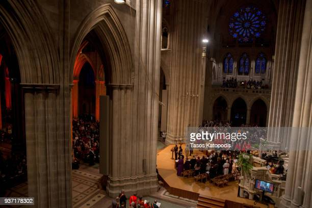 Pastors speak at the Washington National Cathedral for a interfaith prayer vigil with activists students pilgrims and the parents of Carmen Schentrup...