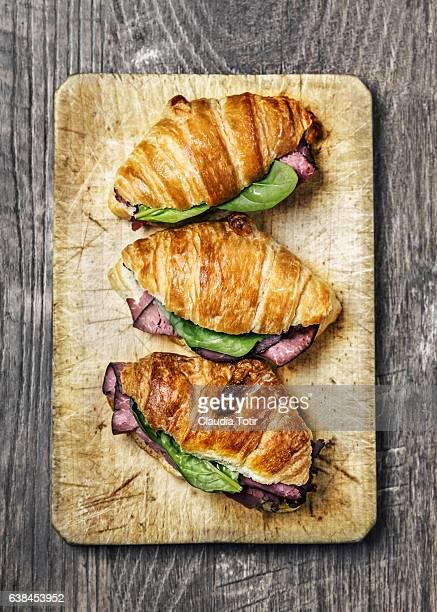 Pastrami croissant sandwich