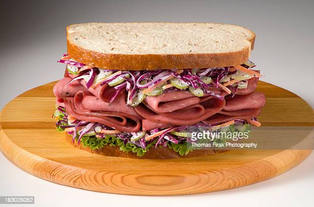 pastrami on rye bread -  firak stock pictures, royalty-free photos & images