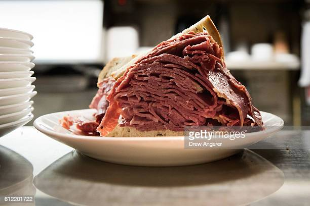 A pastrami on rye sandwich sits on the counter at Carnegie Deli October 3 2016 in New York City Last week the famed deli known for its large pastrami...