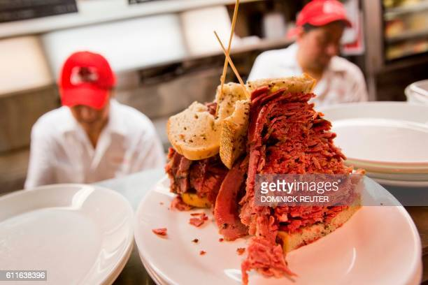 A pastrami sandwich is seen at the Carnegie Deli on September 30 in New York The internationally known restaurant icon announced Friday that it would...