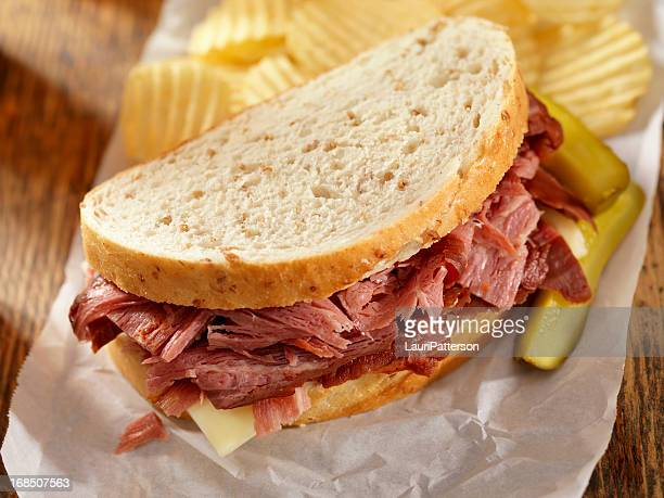 pastrami sandwich - smoked food stock photos and pictures